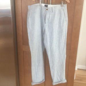 Men's J. Crew, linen/cotton, cuffed pant.